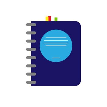 Notebook or address book with color bookmarks, flat design