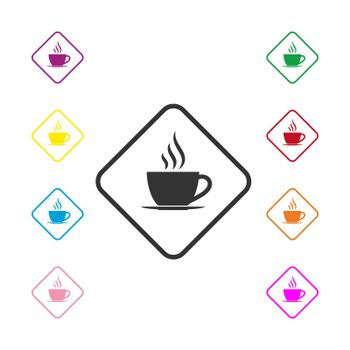 Set of colored icons of a Cup of hot coffee in a square, flat design