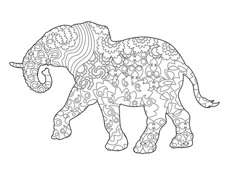 Frame silhouette of an elephant for coloring with colored paints or pencils for children and adults