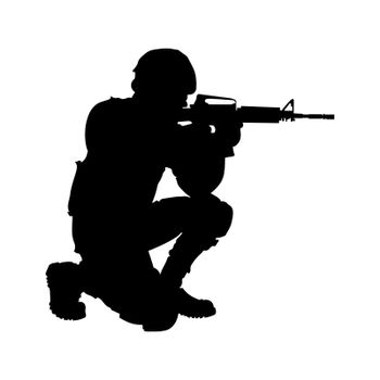 Silhouette drawing. The soldier looks into the sight of the machine.
