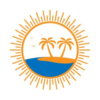 Simple round logo with palm tree and sea.