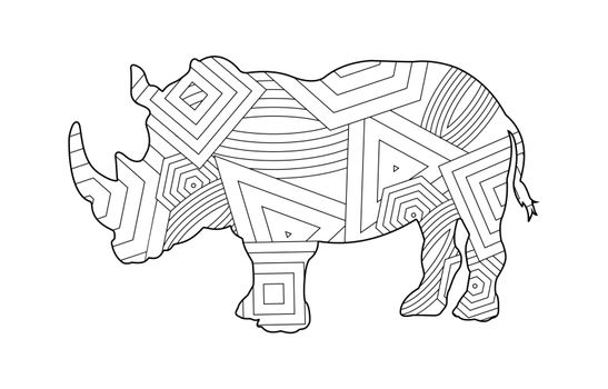 Rhino pattern coloring book for kids and adults with patterns and small details.