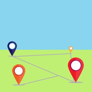 Points of location on the ground with the route