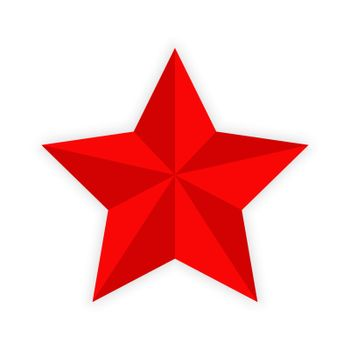 Red five-pointed star on white background,