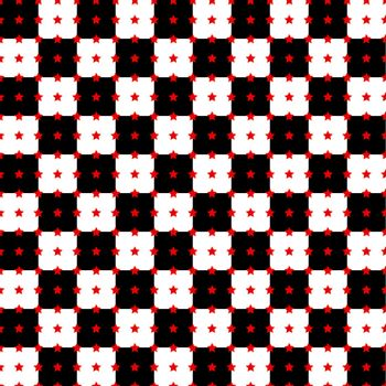 Abstract background with black and white squares and red stars