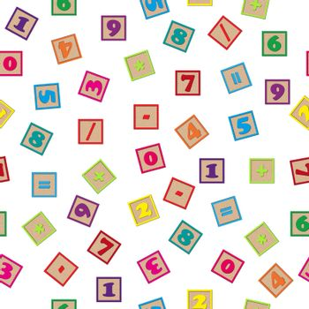 Seamless pattern with a set of numbers and arithmetic signs