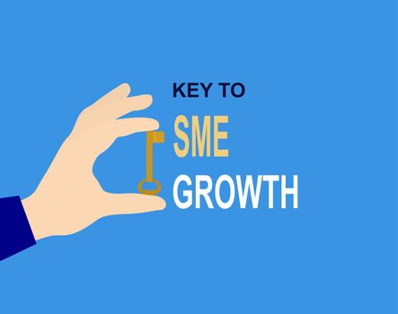 Hand with key and the inscription Key to SME growth