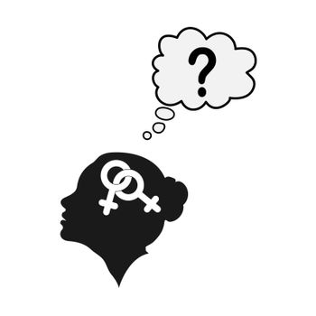 Profile of a female head with the symbol of bigender and a quest