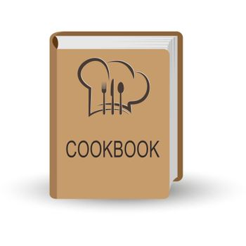 book with the word Cookbook. 3D volume simulation.