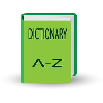 book with the word DICTIONARY. 3D volume simulation.