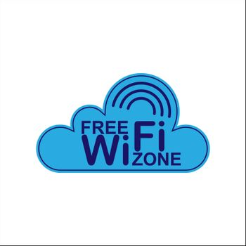 Cloud. Free access zone to the WiFi network. Information icon