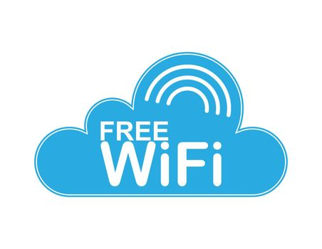 Cloud. WiFi network access area. Information icon