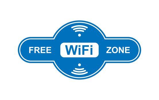 Free WiFi zone icon, simple flat design