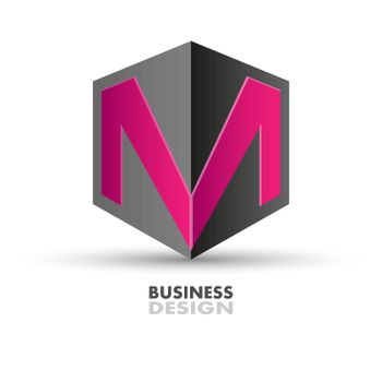Business design for company logo. The letter M on the polyhedron