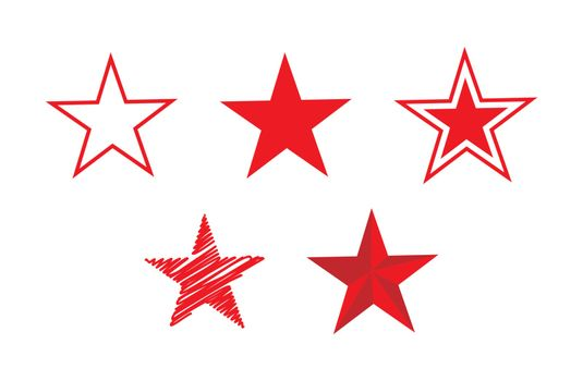 Five-pointed star icon of different designs. Flat simple design.