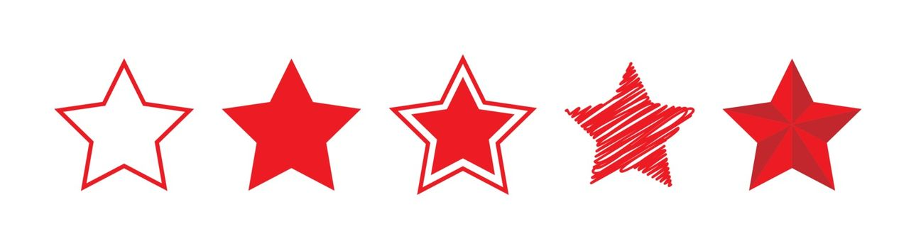 Five-pointed star icon of different designs. Simple flat design