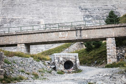 Saint Lary Soulan, France - August 22, 2018: Architecture detail of the Oule hydrolic dam on a summer day