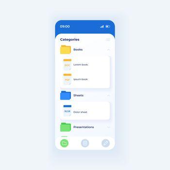Folder catalog for work smartphone interface vector template