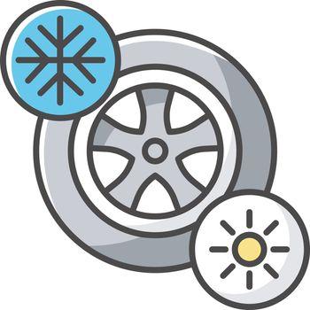 Seasonal tyres RGB color icon