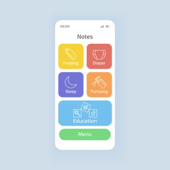 Baby tracking smartphone interface vector template. Mobile app page white theme design layout. Newborn diaper change, feeding time schedule application screen. Flat UI for application. Phone display