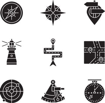 Navigation black glyph icons set on white space