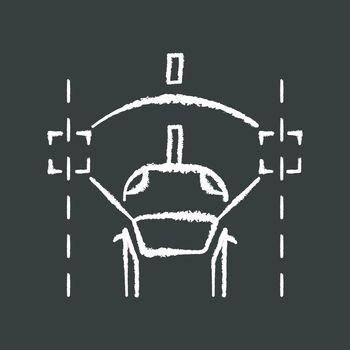 Lane keeping assist chalk white icon on black background