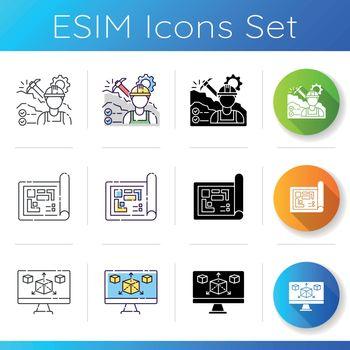 Manufacturing icons set