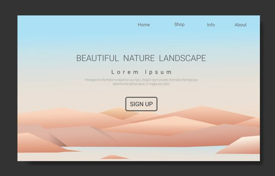 Landscape vector for the Landing page, Vacation and Outdoor Recreation Concept