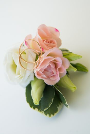 Gold wedding rings and flowers. Groom's boutonniere with a pink rose and two wedding gold rings