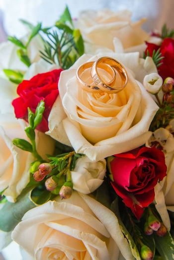 Two beautiful wedding gold rings with diamonds are on the bride's bouquet of red and white roses.