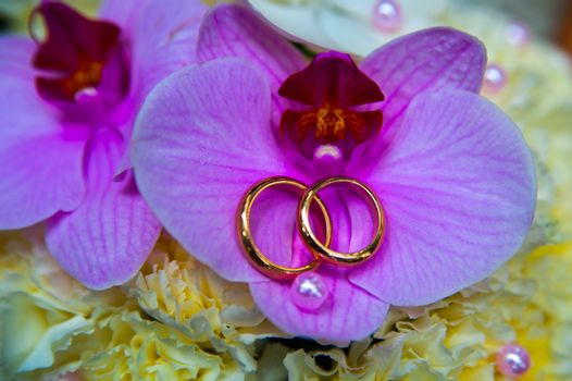 Beautiful gold jewelry lying around flowers. Wedding. Love