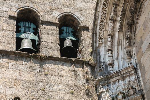 architectural detail of the church of Nossa Senhora da Oliveira in the historic city center of Guimaraes, Portugal