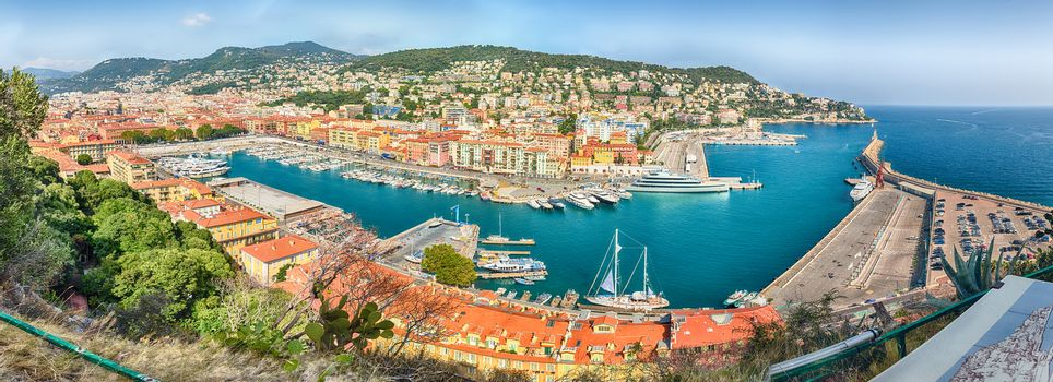 Panoramic aerial view of the Port of Nice, aka Port Lympia, as seen from the Chateau hill, Nice, Cote d'Azur, France