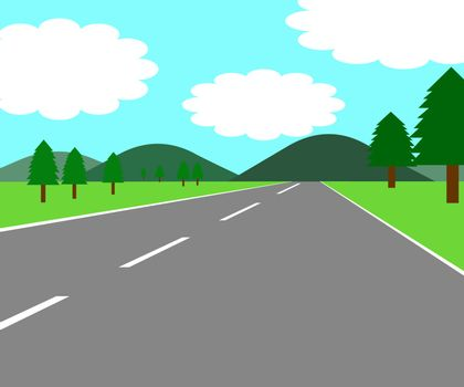 Illustration of a road on both sides of a meadow and trees.