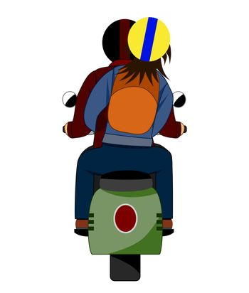 The back of a couple who ride a motorcycle.