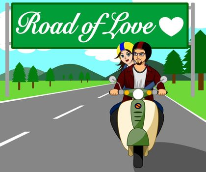 The couple are riding a motorbike, traveling happily on the beautiful love road.