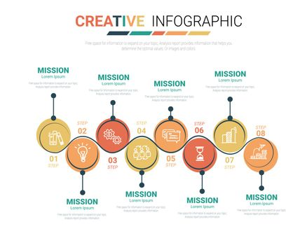 Infographic design template with numbers 8 option