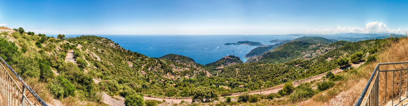 Scenic landscape view over the French Riviera coastline, as seen from Fort de la Revere, near the village of Èze, Cote d'Azur, France