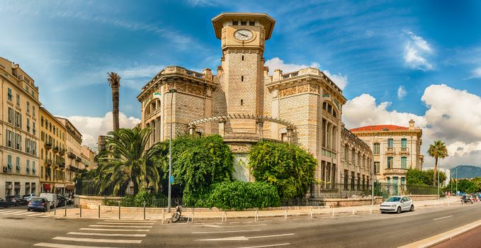 The beautiful architecture of Lycee Massena, iconic building in the city centre of Nice, Cote d'Azur, France