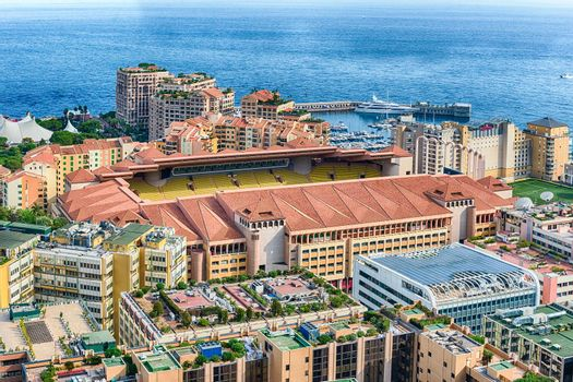 Aerial view of the Louis II stadium. It is located in the Fontvieille district of Monaco, Cote d'Azur, French Riviera