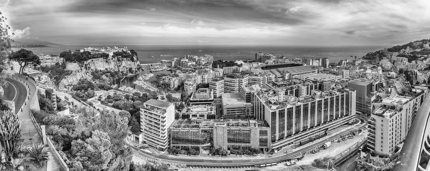 Panoramic view of Fontvieille district in the Principality of Monaco, Cote d'Azur, French Riviera