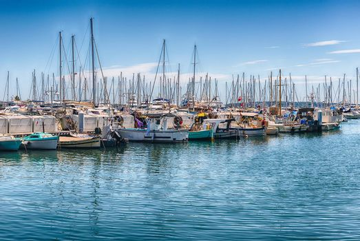 View over the boats of Vieux Port in Le Suquet district, city centre and old harbour of Cannes, Cote d'Azur, France