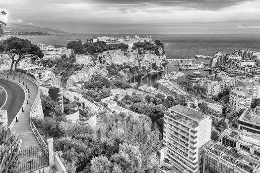 Panoramic view of Monte Carlo, La Condamine, Monaco City and the port of Fontvieille, Principality of Monaco, Cote d'Azur, French Riviera