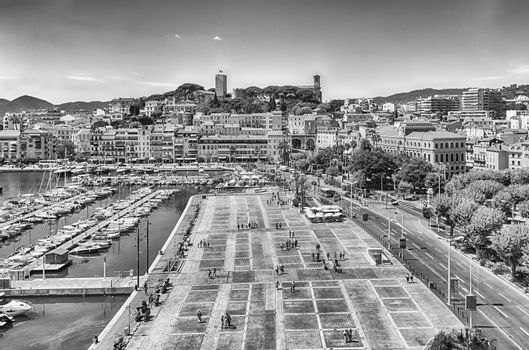 Aerial view over the Vieux Port (Old Harbor) and Le Suquet district in Cannes, Cote d'Azur, France