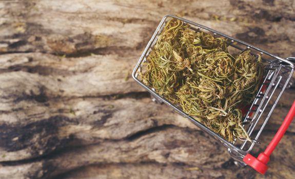 dried cannabis medical marijuana in mini trolley