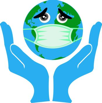 Save world from corona virus.Earth with the concept of being infected with a virus, is in medical assistance, covid 19