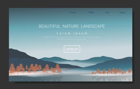 Landscape vector theme with hill