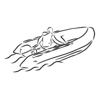 inflatable boat doodle style sketch illustration hand drawn vector