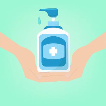 hand sanitizer bottle for hygiene.symbol hand and bottle  Alcohol sanitizers kill most bacteria and stop  some viruses such as covid 19. or Wash Your Hands Sig