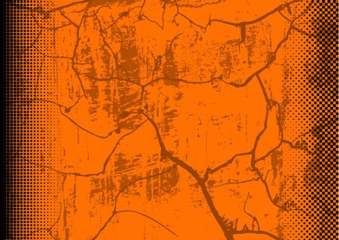 Orange Grunge Background with Texture and Halftone - Colored Illustration for Your Graphic Design, Vector